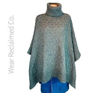 Oversized Turtleneck Poncho Sweater Cape